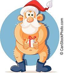 tenencia, desnudo, presente, claus, divertido, navidad, santa