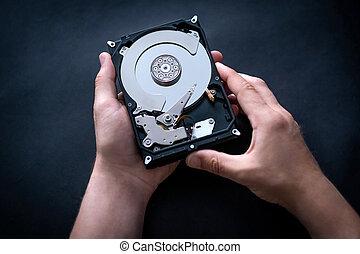 tenencia, disco, abierto, duro, manos