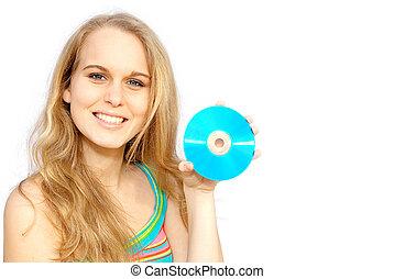 tenencia, disco, cd, blanco, dvd, adolescente, mujer, o, ...