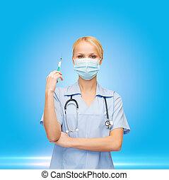 tenencia, doctor, máscara, hembra, jeringuilla, enfermera, o