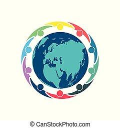 tenencia, gente, cumbre, room., círculo, mismo, diez, potencia, hands., alrededor, globo, trabajadores, reunión, grupo, personas