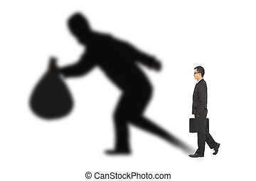 tenencia, hombre de negocios, bolsa, ladrón, ambulante, ...