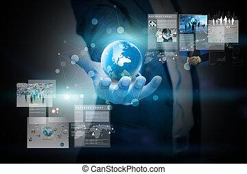 tenencia, hombre de negocios, empresa / negocio, screen., virtual, concepto