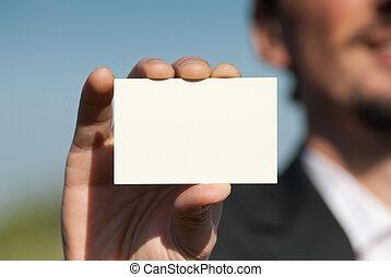 tenencia, hombre, tarjeta comercial, blanco