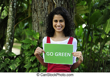 tenencia, ir, conservation:, señal, mujer, verde, ambiente, bosque