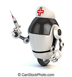 tenencia, jeringuilla, robot, enfermera