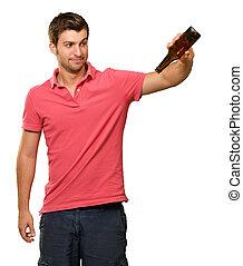 tenencia, joven, botella, retrato, vacío, hombre