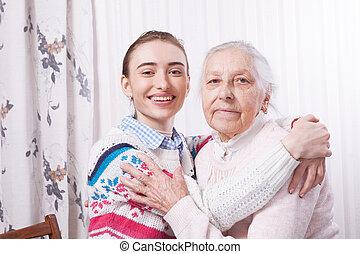 tenencia, mano., casa cuidado, anciano, concept.