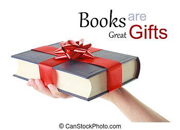 tenencia, mujer, libro, regalo, mano