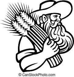 tenencia, ramo, o, trigo, granjero, orgánico, retro, mascota, negro, secado, barba, blanco, grano