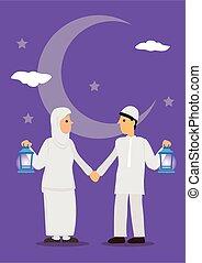 tenencia, saludo, caricatura, luna, estrellas, ayuno, ...