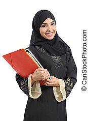 tenencia, saudí, feliz, árabe, estudiante, carpetas