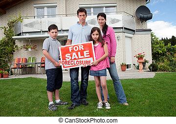 tenencia, señal, ejecución hipoteca, familia , joven