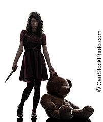 tenencia, silueta, sangriento, asesino, cuchillo, mujer, extraño, joven