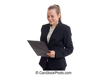 tenencia, tableta, joven, bastante, emocionante, business-blonde