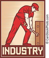 tenencia, trabajador, llave inglesa
