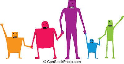 tenencia, /, trabajo en equipo, cooperación, manos, caricatura, feliz