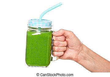 tenencia, vaso, zalamero, tarro, mano, jarra, verde, humano