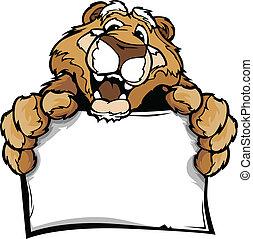 tenencia, vector, imagen, caricatura, señal, puma, feliz, mascota, lindo