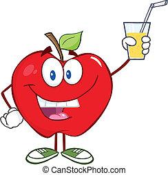 tenendo bicchiere, mela, bevanda