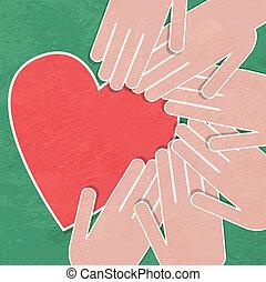 tenendo han, charity., mano, heart.