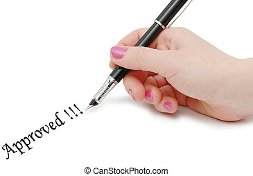 tenendo mano, fondo, penna, isolato, bianco