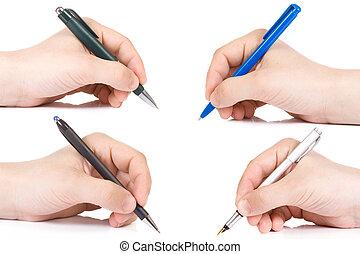 tenendo mano, penna