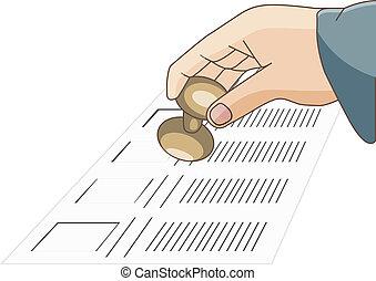tenendo mano, scheda elettorale, uomo, voto, sigillo