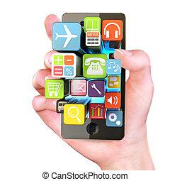 tenendo mano, smartphone, apps