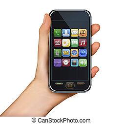 tenendo mano, touchscreen, mobile