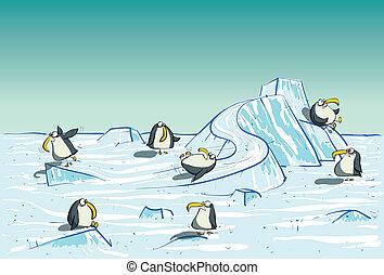 tener diversión, pingüinos, polo norte
