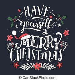 tener, saludo, usted mismo, feliz navidad, tarjeta