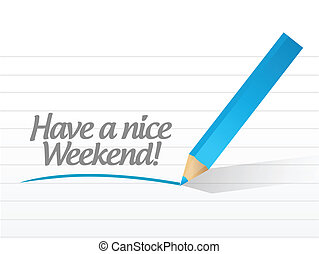 tener, un, agradable, fin de semana, ilustración, diseño