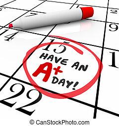 tener, un, ventaja, día, palabras, dar la vuelta, calendario