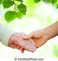 tenere mani, con, anziano