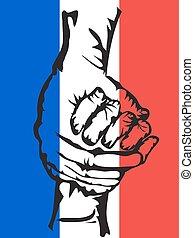 tenere mani, solidarietà, fondo, francia