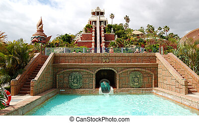TENERIFE ISLAND, SPAIN - MAY 22: The Tower of Power water attraction in Siam waterpark on May 22, 2011 in Tenerife, Spain. The Siam is the largest water theme park in Europe.