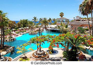 TENERIFE ISLAND, SPAIN - MAY 31: The tourists enjoying their...