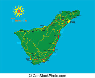 Highly detailed map of the spanish island of Tenerife.