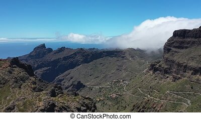 Tenerife, Masca gorge, view of the Atlantic ocean and clouds...