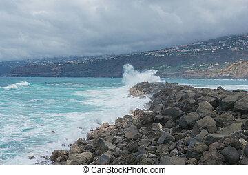 tenerife, oceânicos, contra, rocks., ondas, paisagem, bata