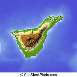 Tenerife. Shaded relief map. Colored according to elevation. Includes clip path for the land area. Projection: Mercator Extents: -17.1/-15.9/27.8/28.8