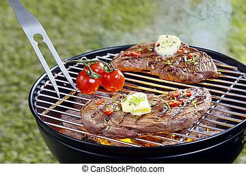 tenero, barbecue, bistecca, cuocere