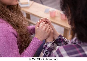 tenero, femmina, tenere insieme, mani