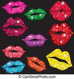 tenero, labbra, set, lucido, kiss.