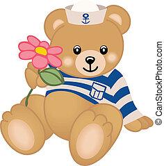 tengerész, kínálat, virág, teddy-mackó