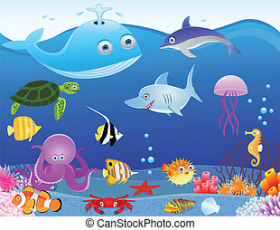 tenger élet, karikatúra, háttér