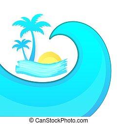tenger, elvont, vektor, háttér, lenget, fröcskölő
