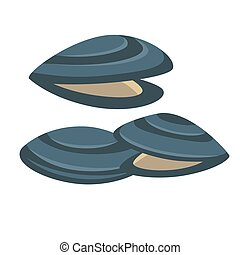 tenger gyümölcsei, vektor, ízletes, friss, mussel., icon.