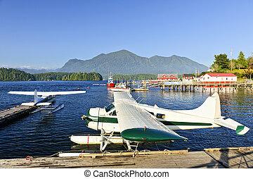 tenger, gyalul, -ban, dokk, alatt, tofino, vancouver sziget, kanada